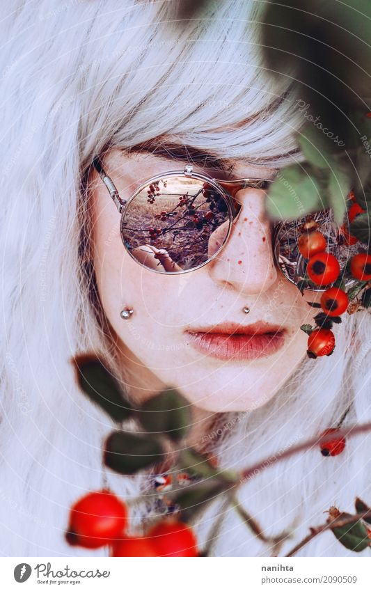 Artistic portrait of a young woman with berries Style Exotic Beautiful Hair and hairstyles Skin Face Freckles Human being Feminine Young woman