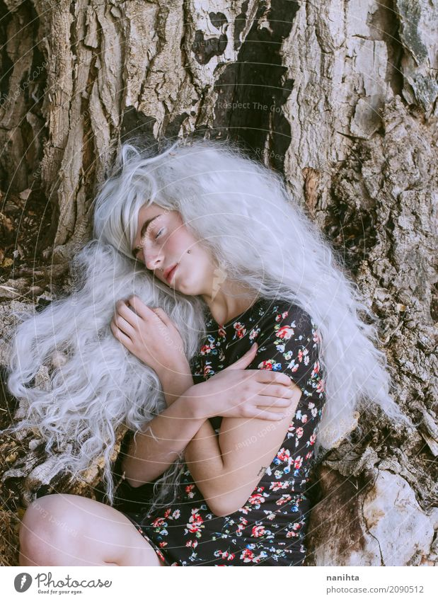 Young woman hugging herself near a huge tree Exotic Wellness Relaxation Human being Feminine Youth (Young adults) 1 18 - 30 years Adults Nature Autumn Winter