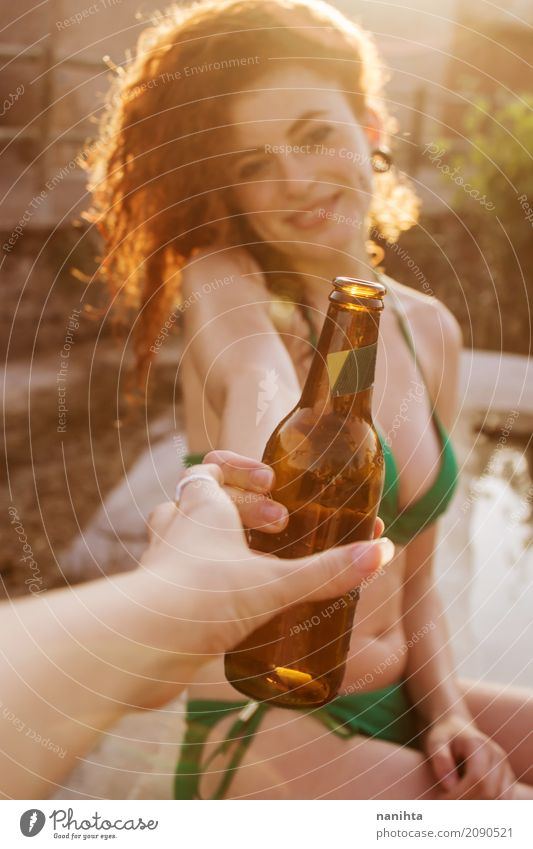 Young redhead woman is sharing a beer Cold drink Beer Lifestyle Style Joy Beautiful Body Hair and hairstyles Wellness Vacation & Travel Tourism Trip Adventure