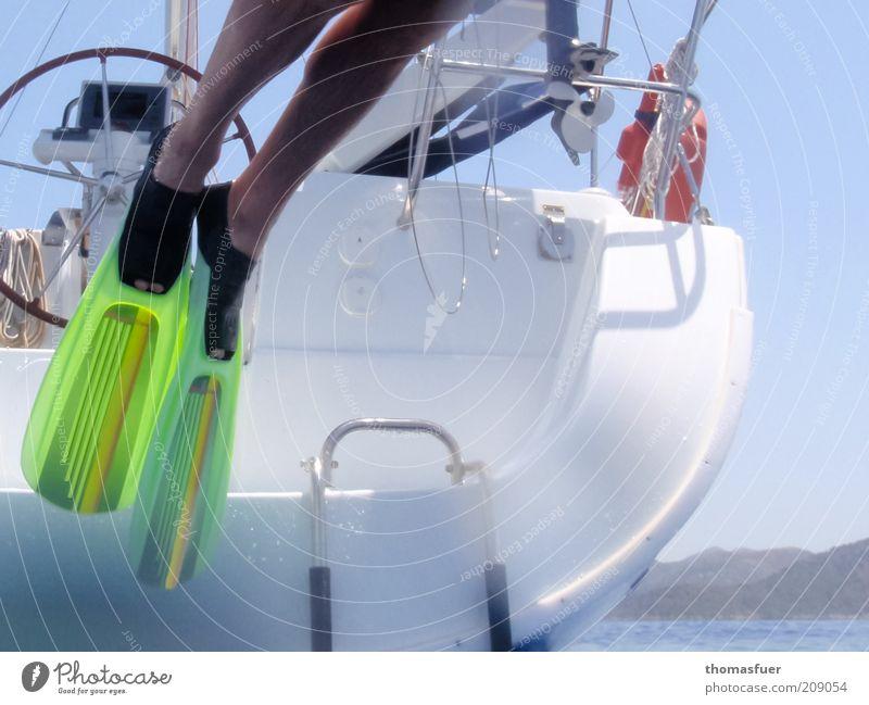 pinball Leisure and hobbies Vacation & Travel Trip Summer Summer vacation Ocean Island Aquatics Sailing Man Adults Legs Feet 1 Human being Water Cloudless sky