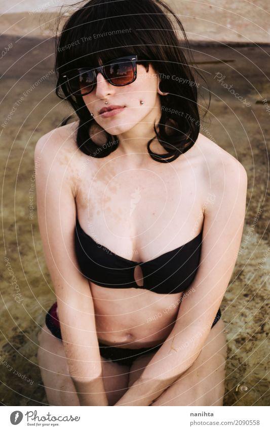 Young beautiful woman wearing a black bikini Lifestyle Elegant Style Body Vacation & Travel Trip Summer Summer vacation Sunbathing Human being Feminine