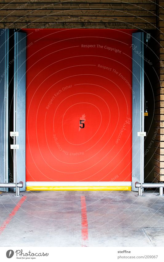 Number five's alive. Door Red Digits and numbers Warehouse Colour photo Multicoloured Exterior shot 5 Roll-down door Sliding gate Deserted Ground markings Day