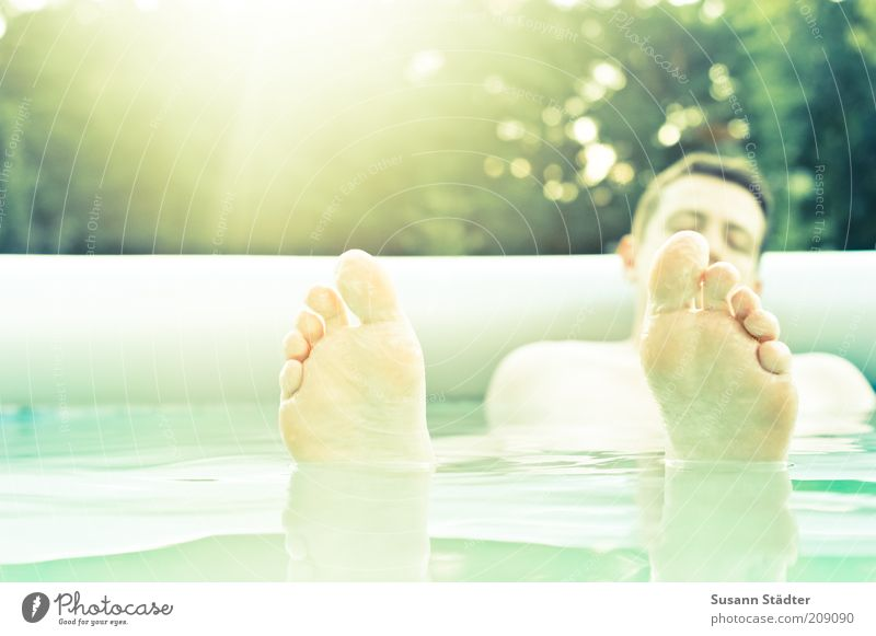 Have a Break Human being Masculine Man Adults Feet 18 - 30 years Youth (Young adults) Swimming & Bathing Relaxation Illuminate Serene Calm Surface of water