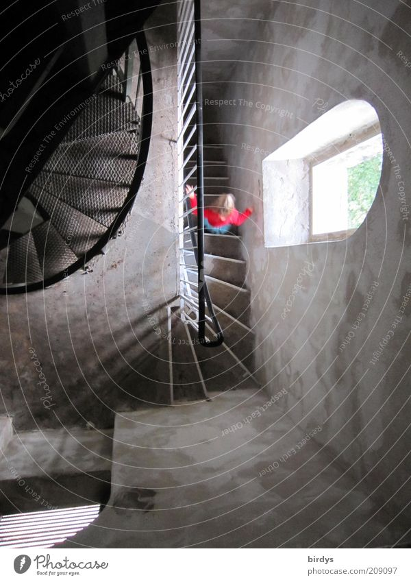 dream staircase Girl 1 Human being 3 - 8 years Child Infancy Tower Stairs Window Movement Going Exceptional Historic Red Curiosity Loneliness Bizarre
