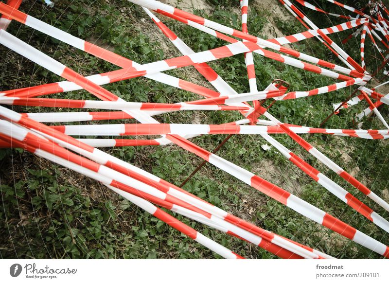 forbidden Garden Meadow Deserted Exceptional Threat Bans Warn Barrier Protection Construction site Chaos Muddled Network Red White Reticular Excessive Effective