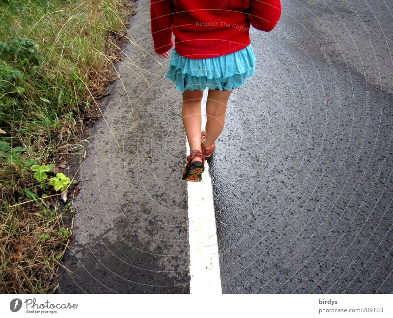 Human being Child Girl Green Blue Red Summer Street Life Grass Movement Line Legs Funny Going