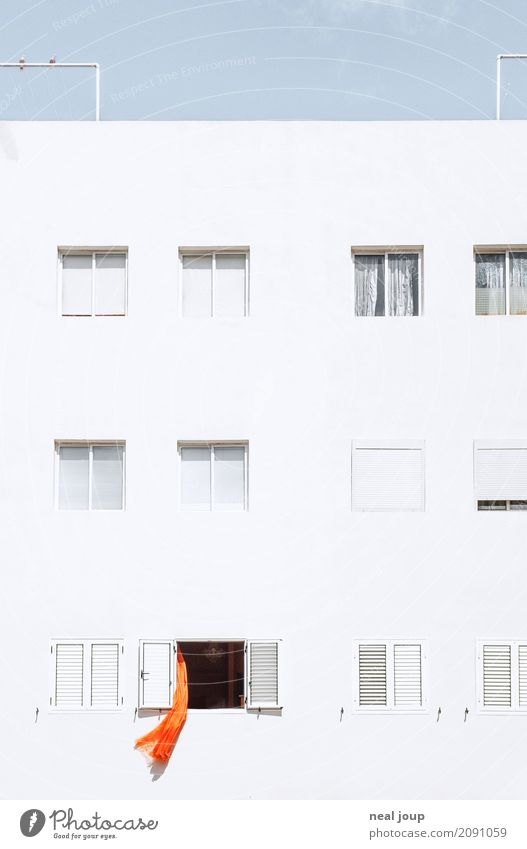 Crazy neighbour House (Residential Structure) Facade Window Drape Observe Simple Uniqueness Trashy Town Orange White Boredom Surprise Loneliness Claustrophobia