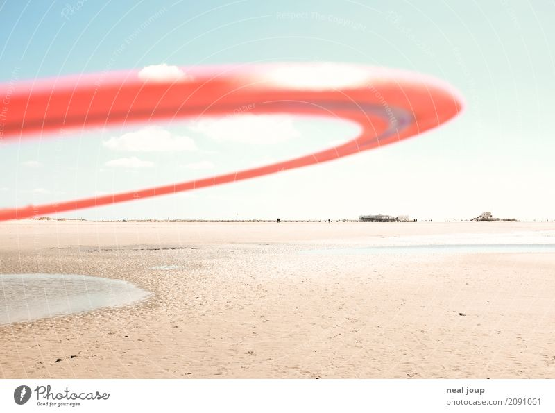 Catch me! Playing Far-off places Frisbee quoit Coast Beach North Sea St. Peter-Ording Fitness Running Sports Romp Throw Esthetic Simple Free Infinity Round Red