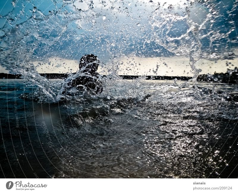 sluice Wellness Life Swimming & Bathing Leisure and hobbies Man Adults Nature Water Drops of water Storm clouds Horizon Summer Lake Lake Baggersee Playing Joy