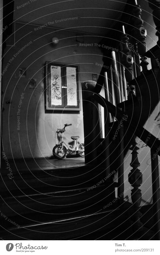 small wheel Old town House (Residential Structure) Stairs Emotions Sadness Black & white photo Interior shot Day Light Shadow Contrast Gloomy Dark Eerie