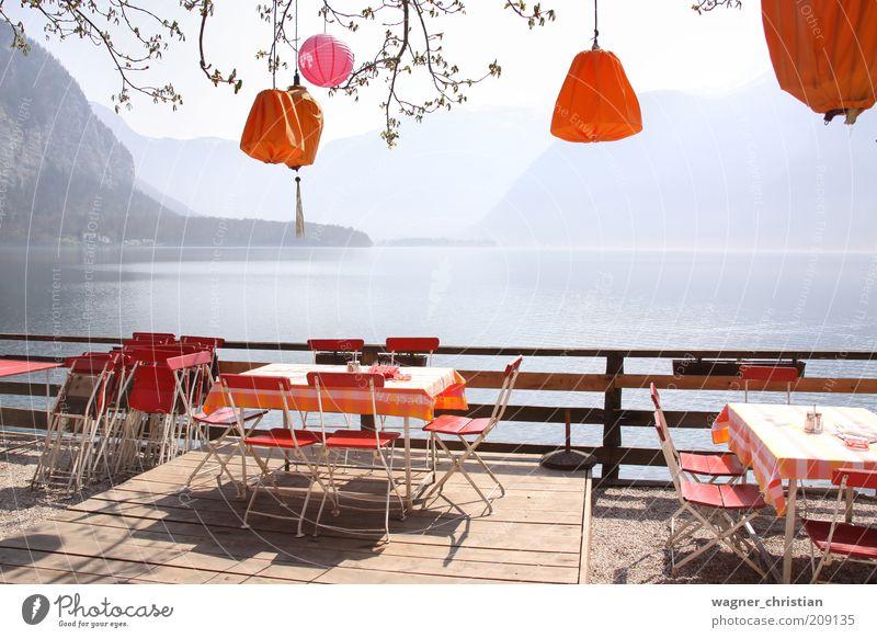Nature Summer Vacation & Travel Calm Relaxation Mountain Dream Lake Landscape Orange Table Tourism Vantage point Chair Decoration