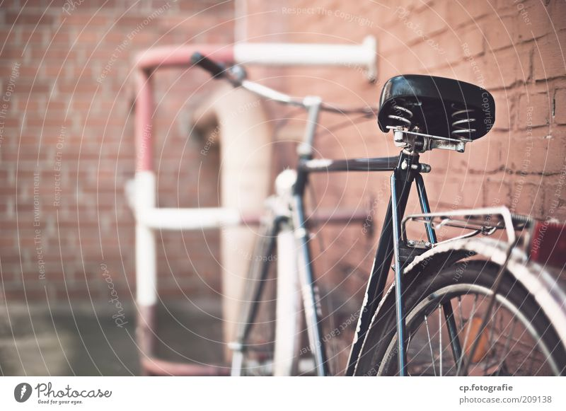 Bicycle in front of brick wall Manmade structures Building Wall (barrier) Wall (building) Facade Means of transport Stone Metal Brick Old Colour photo