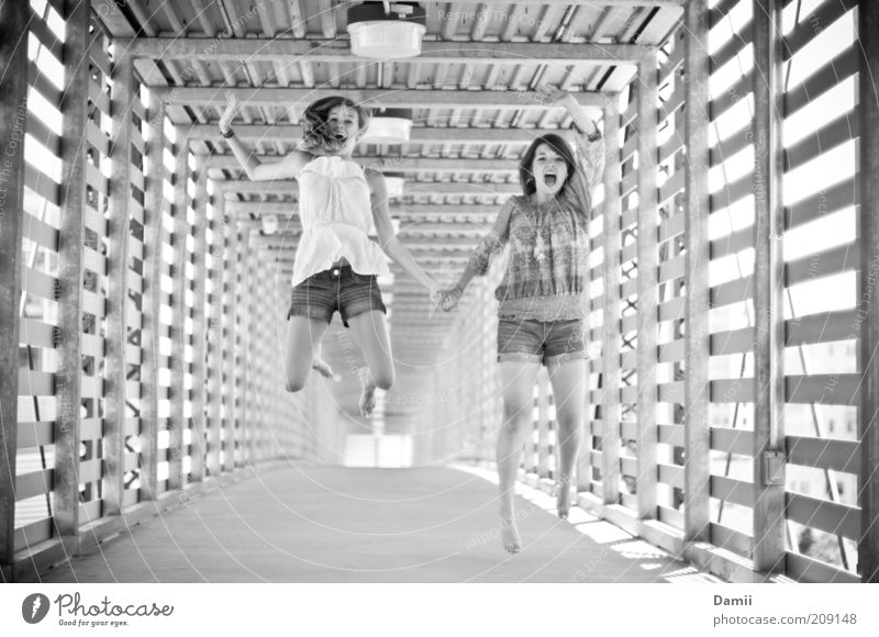 Human being Joy Feminine Jump Happy Lanes & trails Friendship Healthy Success Free Fresh Happiness Bridge Playing Trust