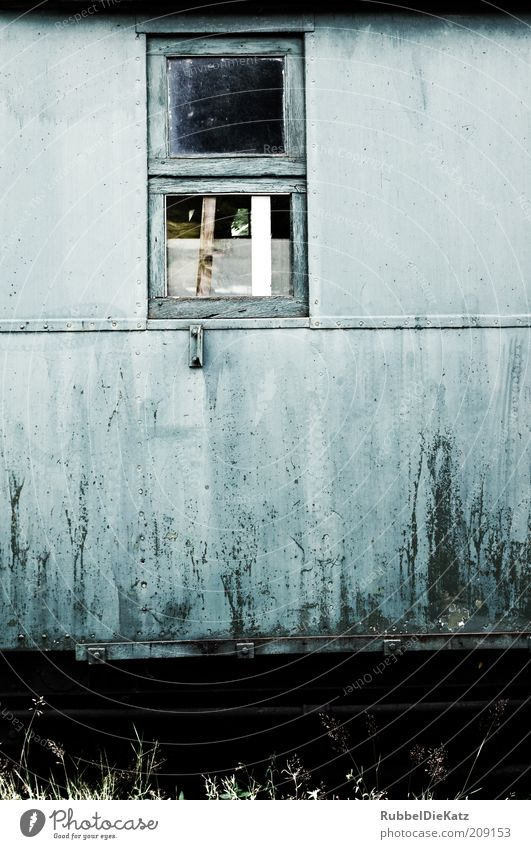 Old Blue Black Colour Window Wood Metal Dirty Retro Broken Derelict Decline Rust Historic Tin Section of image