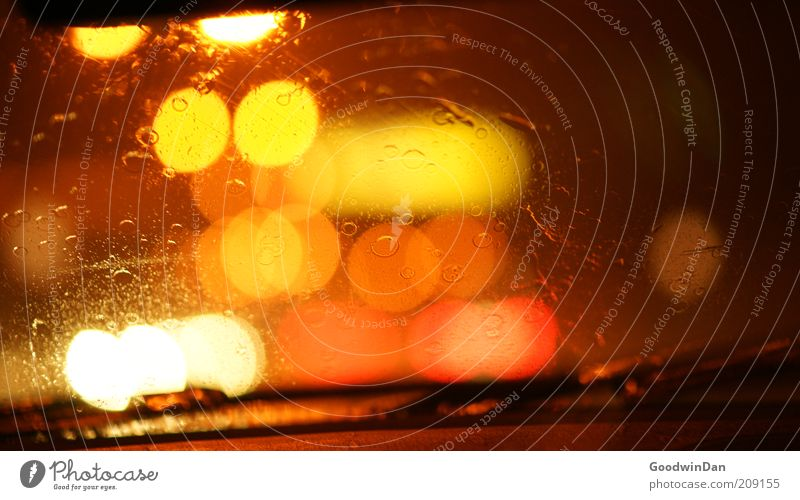 White Red Yellow Street Dark Emotions Car Rain Moody Wait Wet Drops of water Transport Perspective Multiple Illuminate