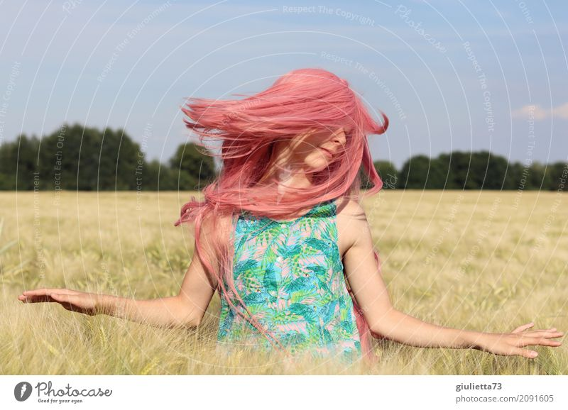 good vibes || Feminine Girl Young woman Youth (Young adults) Life 1 Human being 8 - 13 years Child Infancy 13 - 18 years Summer Beautiful weather Grain field