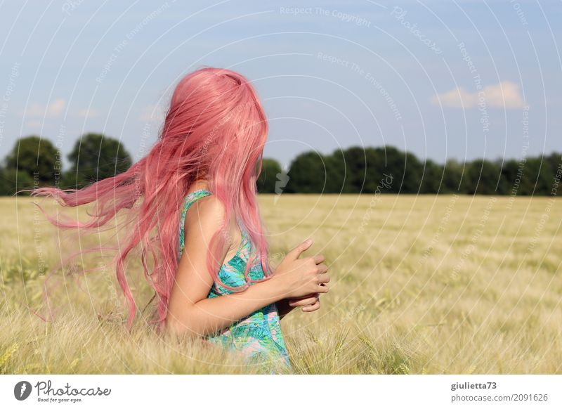 Human being Child Sky Summer Girl Life Movement Happy Pink Free Field Infancy Happiness To enjoy Dance Beautiful weather