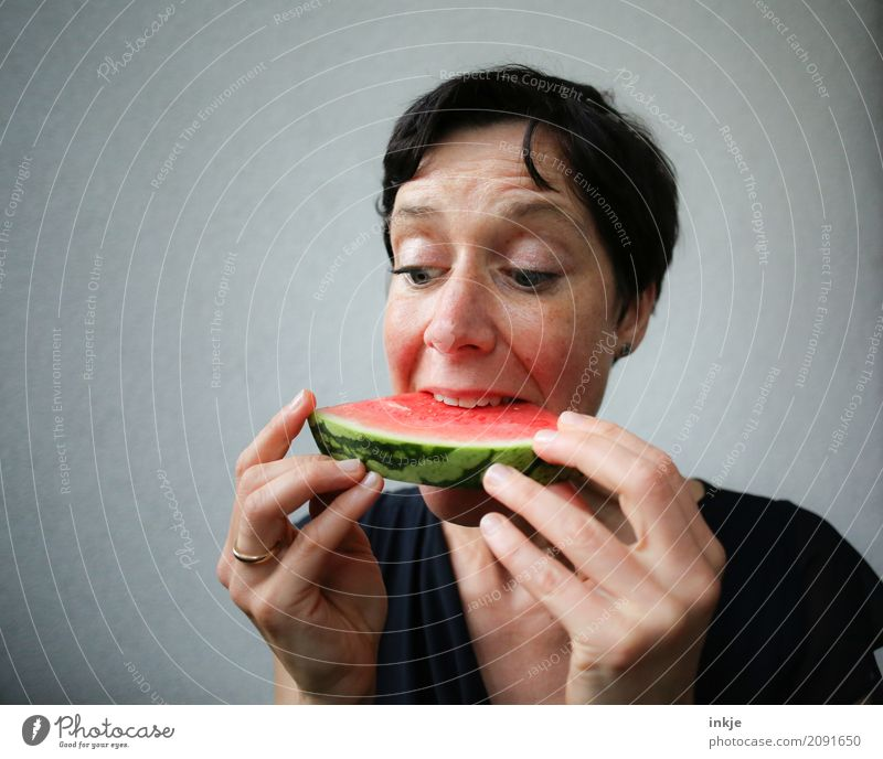 Human being Woman Hand Red Face Adults Eating Life Emotions Fruit Fresh To enjoy To hold on Part Appetite Juicy