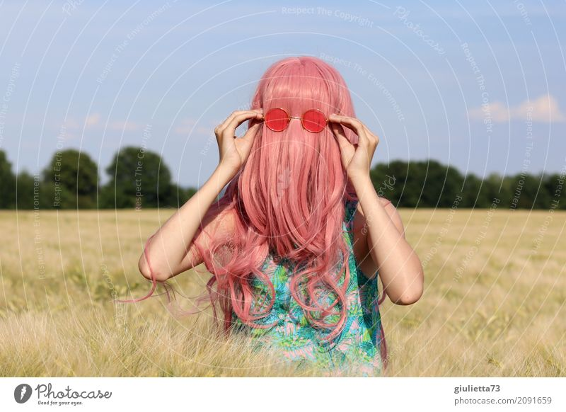 Human being Child Youth (Young adults) Young woman Summer Girl Life Funny Feminine Hair and hairstyles Pink Field 13 - 18 years Infancy Crazy