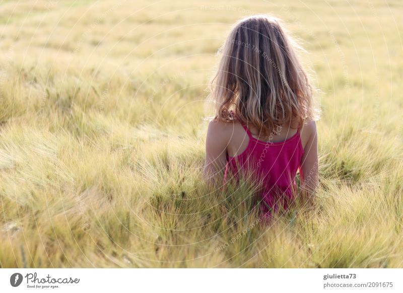 Human being Child Youth (Young adults) Young woman Summer Beautiful Sun Calm Girl Religion and faith Natural Think Pink Dream Contentment Field