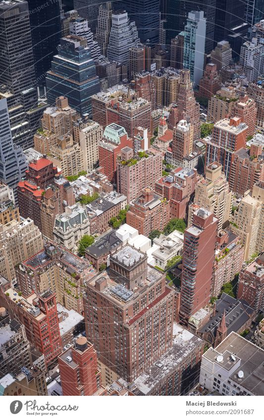 Aerial picture of Manhattan Architecture Street Building Flat (apartment) Office High-rise Success USA Hotel Downtown Bank building Sightseeing Society