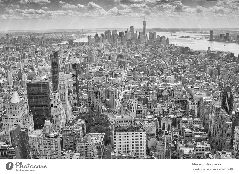 Aerial picture of Manhattan Vacation & Travel Town Architecture Street Building City life Living or residing Office High-rise USA Illustration