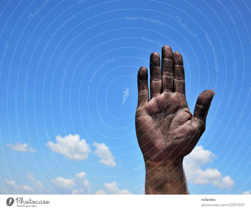 Dirty male palm raised up Sky Blue Hand Clouds Black Freedom Masculine Fingers Help Protection Gesture Independence Survive Miner