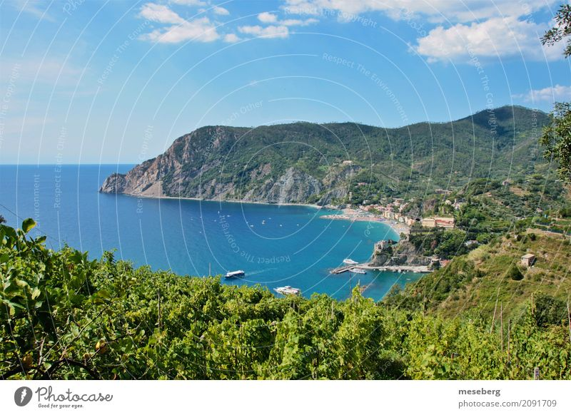 Montorosso al Mare, Italy Nature Landscape Water Sky Clouds Sunlight Summer Beautiful weather Bushes Coast Beach Village Small Town Vacation & Travel Hiking