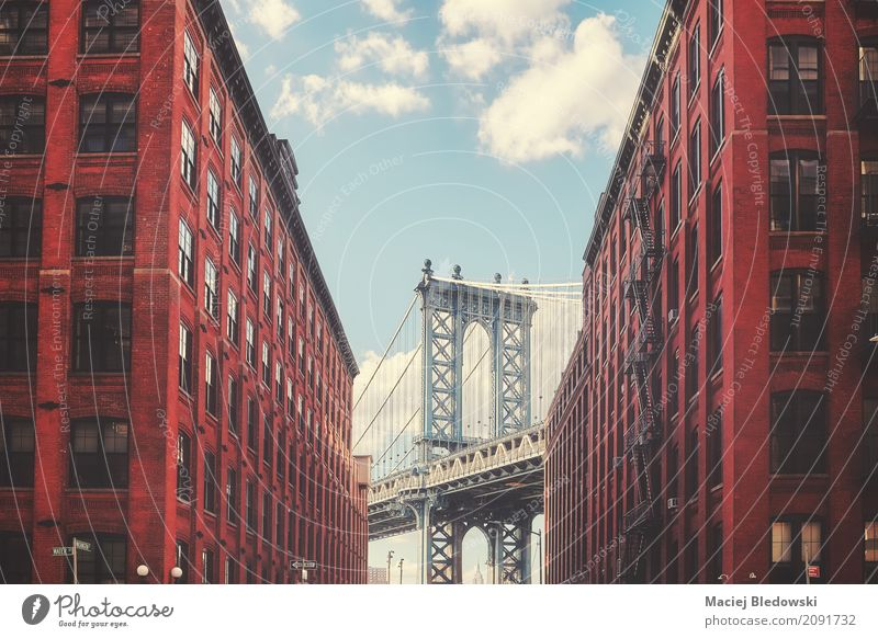 Manhattan Bridge Architecture Street Building Facade Retro USA Historic Sightseeing Brooklyn City