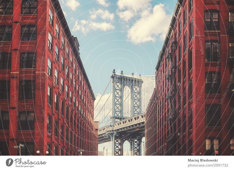 Manhattan Bridge Sightseeing Brooklyn Building Architecture Facade Street Historic Retro New York City vintage filtered NYC Dumbo landmark travel destination
