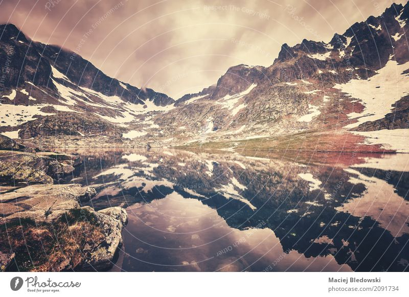 Lake in High Tatra Mountains Vacation & Travel Trip Adventure Camping Hiking Landscape Storm clouds Hill Rock Peak Retro filtered Wilderness Height Slovakia