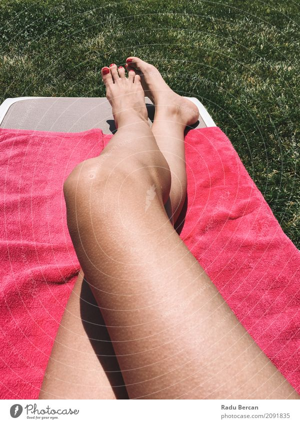 Beautiful Girl Relaxing Her Feet On Pink Towel In Grass Lifestyle Exotic Body Pedicure Wellness Relaxation Spa Freedom Summer Sunbathing Garden Human being