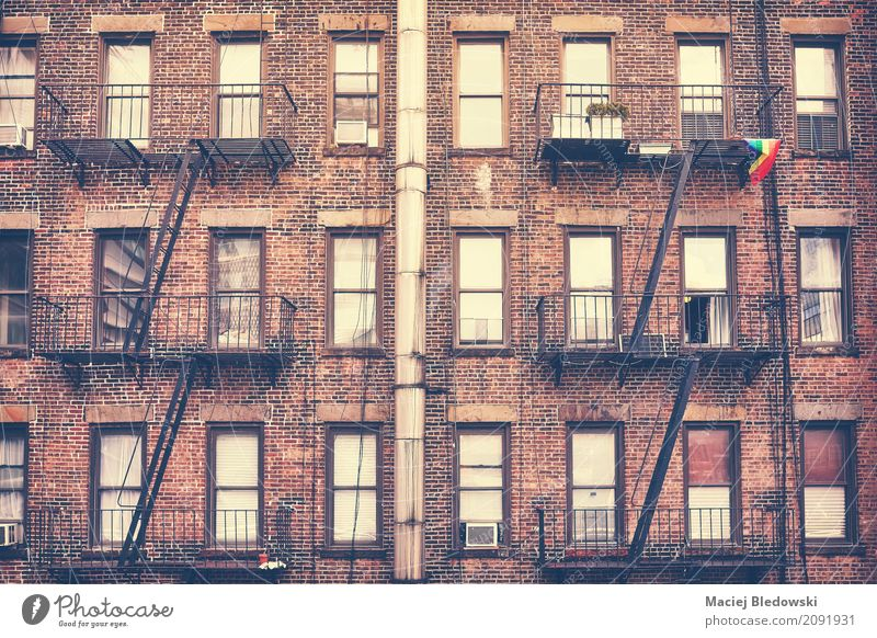 Fire escape, one of New York City symbols. Flat (apartment) House (Residential Structure) Manhattan Downtown Building Architecture Facade Old Retro Fire ladder