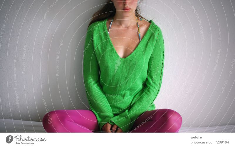 Meditation in colorful Human being Feminine Young woman Youth (Young adults) Woman Adults 1 18 - 30 years Sit Green Pink Grass green Sit Cross Legged Rest Calm