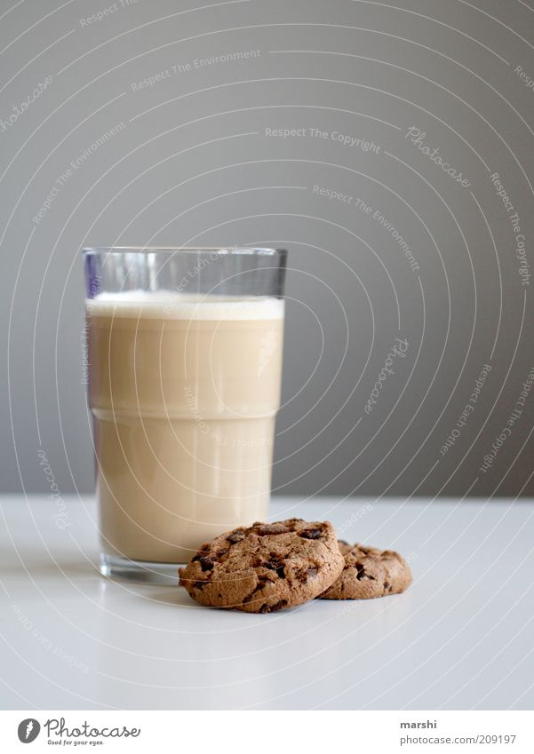 Lunch low?! Food Candy Nutrition Beverage Hot drink Latte macchiato Glass Brown Cookie frothy Delicious Lunch hour Snack Colour photo Interior shot Foam