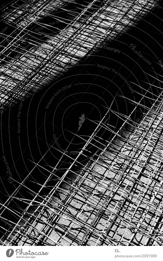 fence Construction site Fence Metalware Hoarding Dark Sharp-edged Bright Claustrophobia Complex Black & white photo Exterior shot Abstract Pattern