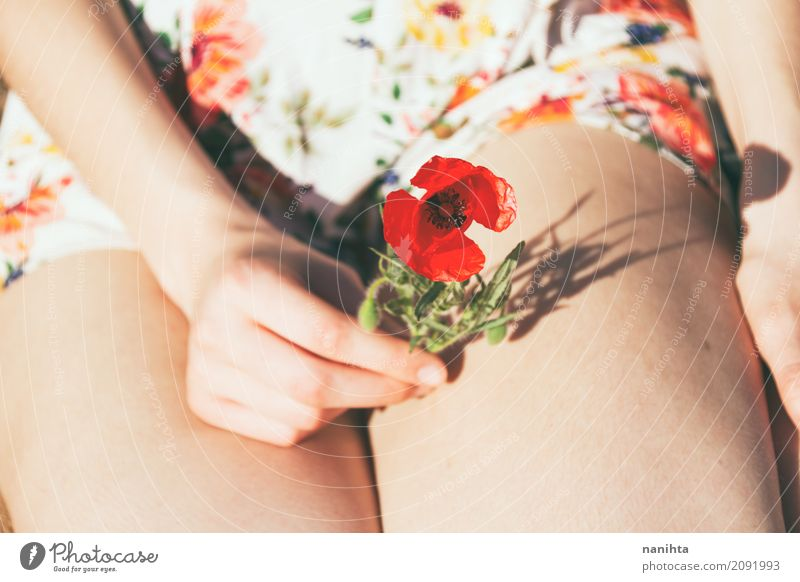 Young woman's hand holding a poppy flower Lifestyle Senses Fragrance Human being Feminine Youth (Young adults) Hand Legs 1 18 - 30 years Adults Nature Sun