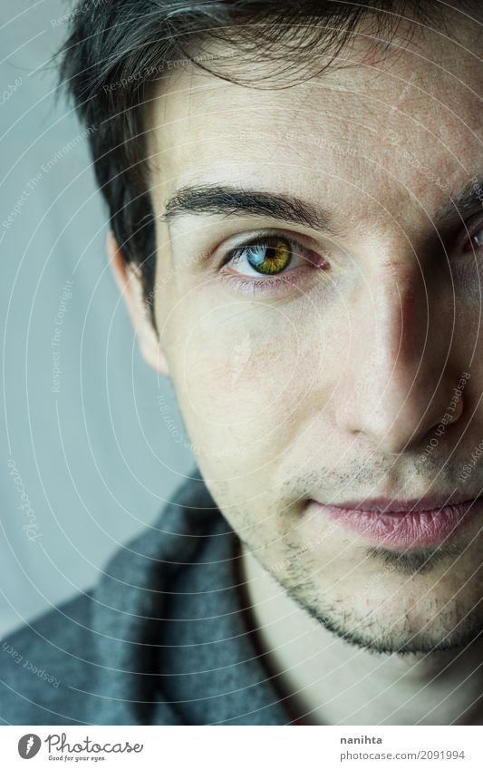 Classic portrait of an attractive young man Human being Youth (Young adults) White Young man Calm 18 - 30 years Face Adults Eyes Life Emotions Gray Moody