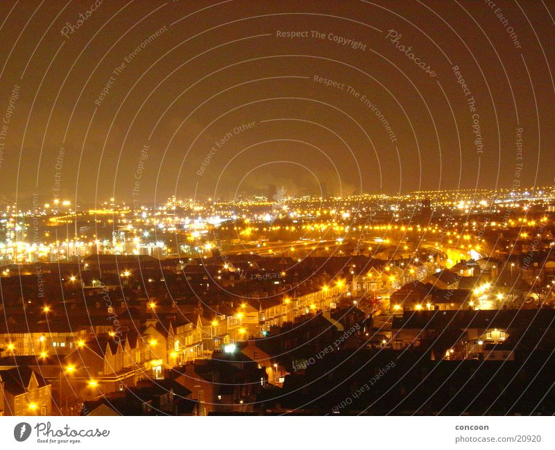 somewhere in the uk.. Great Britain England Middlesbrough Night Light Town Europe teesside north east Industrial Photography Smoke Rain