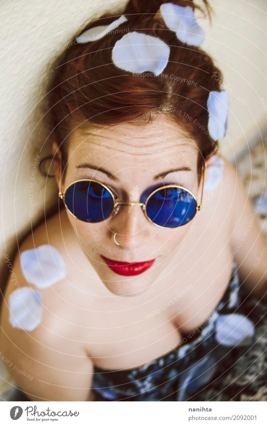 Young redhead woman wearing blue circle sunglasses Elegant Style Beautiful Skin Face Lipstick Freckles Human being Feminine Young woman Youth (Young adults) 1
