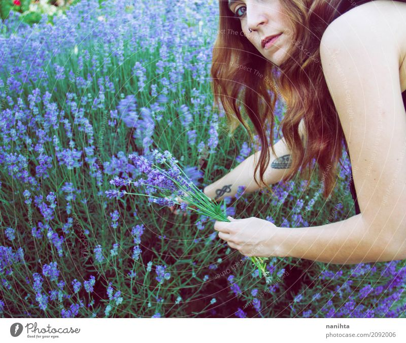 Young woman harvest lavender Lifestyle Healthy Alternative medicine Wellness Well-being Senses Fragrance Human being Feminine Youth (Young adults) 1