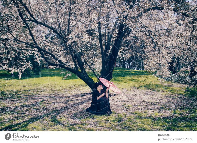 Woman with an umbrella under a beautiful blossoming tree Human being Nature Youth (Young adults) Beautiful Young man Tree Landscape Flower Forest 18 - 30 years