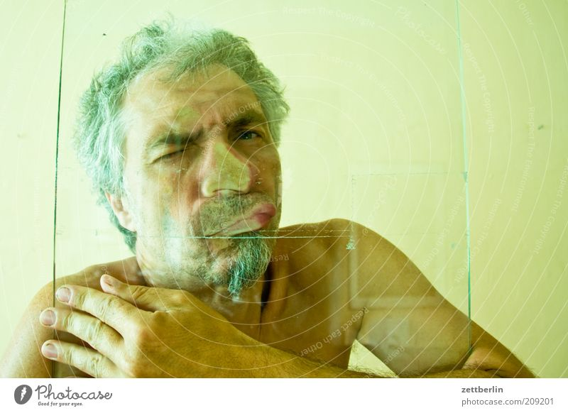Man Hand Face Eyes Mouth Adults Glass Masculine Nose Closed Lips Tile Facial hair Human being Whimsical Breathe