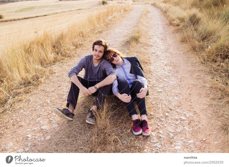 Young couple enjoying a summer day in nature Lifestyle Joy Wellness Harmonious Well-being Vacation & Travel Adventure Freedom Human being Masculine Feminine