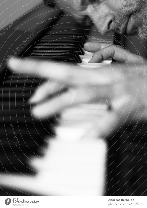Play with black and white Entertainment Music Masculine Hand 1 Human being Piano Passion Disciplined Endurance Interest musician play Keyboard tool
