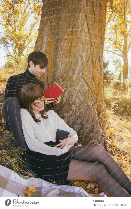 Young couple enjoying a sunny day outdoors Human being Nature Vacation & Travel Youth (Young adults) Young woman Young man Joy Forest 18 - 30 years Adults Life