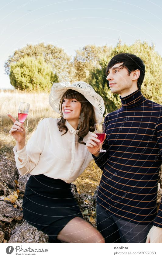 Couple drinking wine in nature Human being Vacation & Travel Youth (Young adults) Young woman Summer Young man 18 - 30 years Adults Lifestyle Love Feminine
