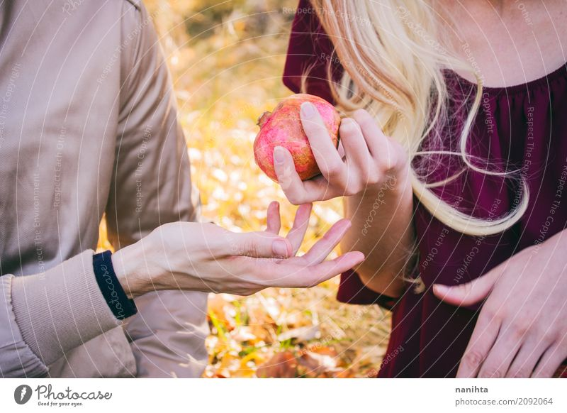 Young couple sharing a pomegranate Food Fruit Pomegranate Nutrition Human being Masculine Feminine Young woman Youth (Young adults) Young man Family & Relations