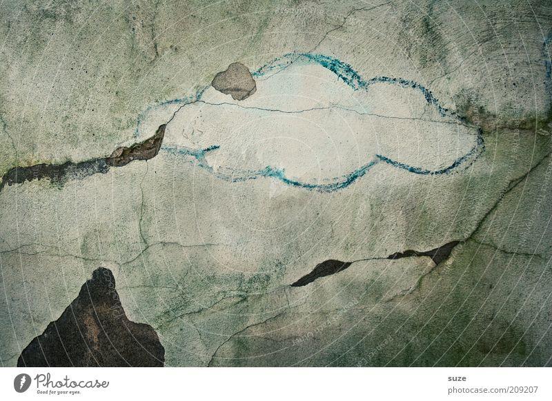 Sky Blue Old Clouds Dark Mountain Graffiti Wall (building) Wall (barrier) Gray Stone Art Weather Rain Facade Gloomy