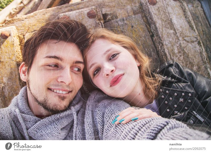 Young couple having fun together Human being Youth (Young adults) Young woman Young man Joy 18 - 30 years Adults Life Lifestyle Love Feminine Couple Together
